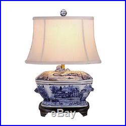 Blue and White Porcelain Landscape Tureen Table Lamp 21