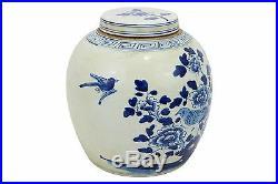Blue and White Porcelain Lidded Ginger Jar Bird and Floral Motif 12