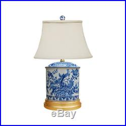 Blue and White Porcelain Oval Floral Bird Motif Table Lamp 20