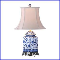 Blue and White Porcelain Scallop Ginger Jar Table Lamp Floral Motif 22
