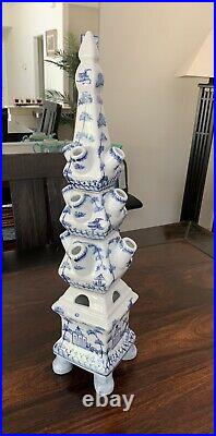 Blue and white Porcelain Tulip / Tulipiere 22 inches tall Vase