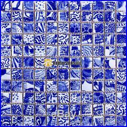 Blue & white porcelain ceramic backsplash tiles bathroom shower mosaic HMCM1035