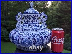 Bombay 11 Chinese Cobalt Blue & White Porcelain 2-Handled & Lidded Ginger Jar