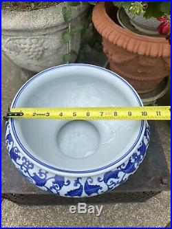 Bombay Company Chinoserie Blue And White Porcelain Pedestal Stand And Planter