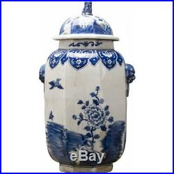 CHINESE ORIENTAL BLUE AND WHITE PORCELAIN phoenix GINGER JAR foo dog finial