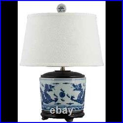 CLASSIC BLUE AND WHITE PORCELAIN ORIENTAL BASIN LAMP With DRAGONS