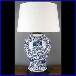 CLASSIC BLUE AND WHITE PORCELAIN ORIENTAL TABLE LAMP 39 tall ginger jar