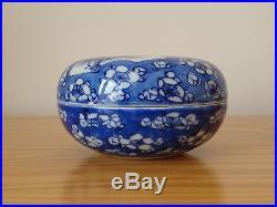 C. 17th Antique Chinese Blue & White Kangxi Prunus Blossom Porcelain Paste Box