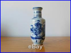 C. 18th Antique Chinese Blue & White Porcelain Kangxi Small Rouleau Vase