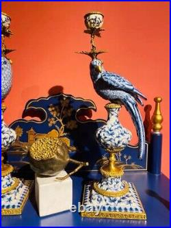 Cabdelabra Brass Blue and White Chinese Porcelain 1 arm candle holder