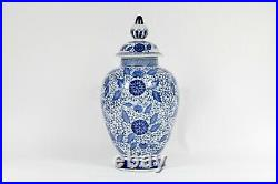 Ceramic Chinese Blue & White Porcelain Temple Jar floral High fire 20 x 10