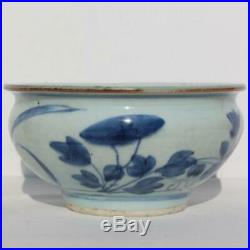 China Ming Dynasty Chinese Blue & White Floral Lotus Flower Large Porcelain Bowl