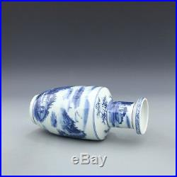 China antique Porcelain Qing kangxi blue white hand painting landscape vase