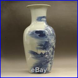 China antique Porcelain Qing qianlong blue white hand painting character vase
