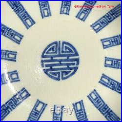 Chinese 19thC Qing Daoguang Blue & White Porcelain SHOU Plate Vietnamese