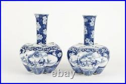 Chinese 20th century tulip vases, blue and white porcelain, prunus