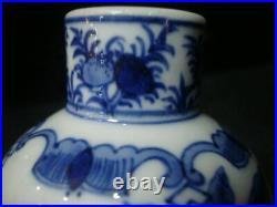 Chinese Antique Blue and White Glaze Porcelain Vase Marked KangXi