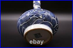Chinese Antique Blue and White Porcelain Dragon Vase