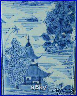 Chinese Blue & White Canton Porcelain Square Form Vase, Landscape, 19th Century