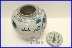 Chinese Blue & White Painted Foo Dog Porcelain Ginger Jar withLid Ap20-01