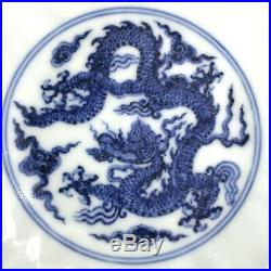 Chinese Blue White Porcelain Bowl Dragon Hand painted China Asian