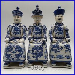 Chinese Blue White Porcelain Qing Dynasty Qianlong Yongzheng Kangxi Emperor 3Set