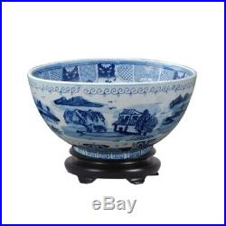 Chinese Blue and White Blue Willow Porcelain Bowl w Base 14 Diameter