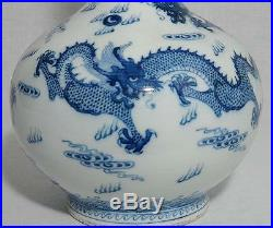 Chinese Blue and White Long Neck Porcelain Vase With Mark