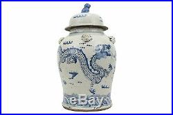 Chinese Blue and White Porcelain Dragon Motif Temple Jar 23