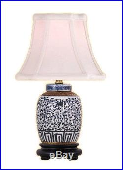 Chinese Blue and White Porcelain Ginger Jar Twisted Lotus Table Lamp 15