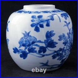 Chinese Blue and White Porcelain Ginger Jar with birds Early 20th C
