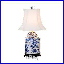 Chinese Blue and White Porcelain Tea Caddy Bird Motif Table Lamp 22