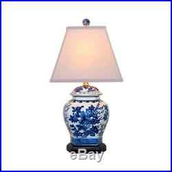 Chinese Blue and White Porcelain Temple Jar Floral Motif Table Lamp 20