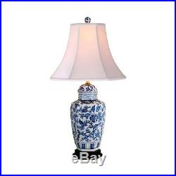 Chinese Blue and White Porcelain Temple Jar Floral Motif Table Lamp 29.5