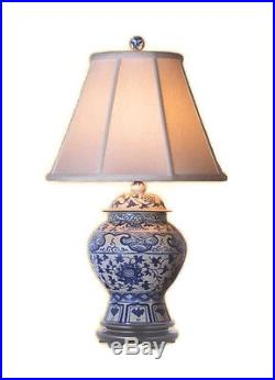 Chinese Blue and White Porcelain Temple Jar Twisted Lotus Table Lamp 28