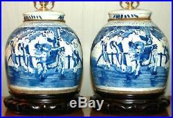 Chinese GINGER JAR LAMPS Blue & White Porcelain Qilin Boys Foo Dog Pair 2G