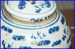 Chinese GINGER JAR LAMPS Foo Dogs Pair Blue & White Porcelain Vases 5-I