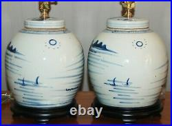 Chinese GINGER JAR LAMPS One or Pair Blue & White Canton Porcelain Vases 7-U