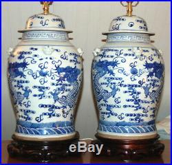 Chinese GINGER JAR LAMPS Pair Blue & White Porcelain Dragons Vases Temple Jar 3Q