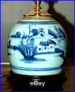 Chinese GINGER JAR Lamps PAIR Blue & White Porcelain Canton (3W)