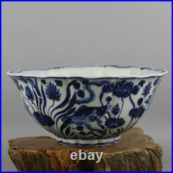 Chinese Ming Xuande marked old antique Porcelain blue white fish algae bowl