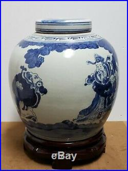 Chinese Old Blue and White Porcelain Ginger Jar With Lid