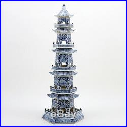 Chinese Oriental Blue And White Porcelain Pagoda 29 Tall