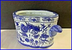 Chinese Oriental Blue/White Porcelain Oval (8H x 17W) Planter Pot Vase Signed
