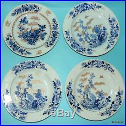 Chinese Porcelain Antique Blue White Kangxi Yongzheng 4 Rare Plates