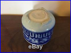 Chinese Porcelain Blue & White Brush Pot Cachepot Planter Flower Pot 19th c