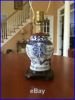 Chinese Porcelain Blue and White Table Lamp Dragon Phoenix