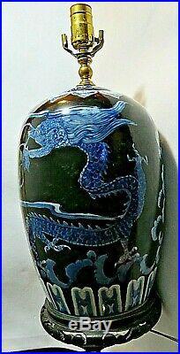 Chinese Porcelain Ginger Jar Lamp Cobalt Blue & White Dragon Paintings