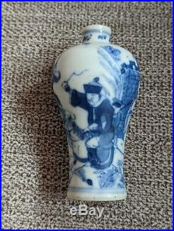 Chinese Porcelain Snuff Bottle w. Blue & White Figure Motifs Marked 19th C. NR