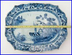 Chinese Qing dynasty Qianlong period blue and white porcelain platter c1750